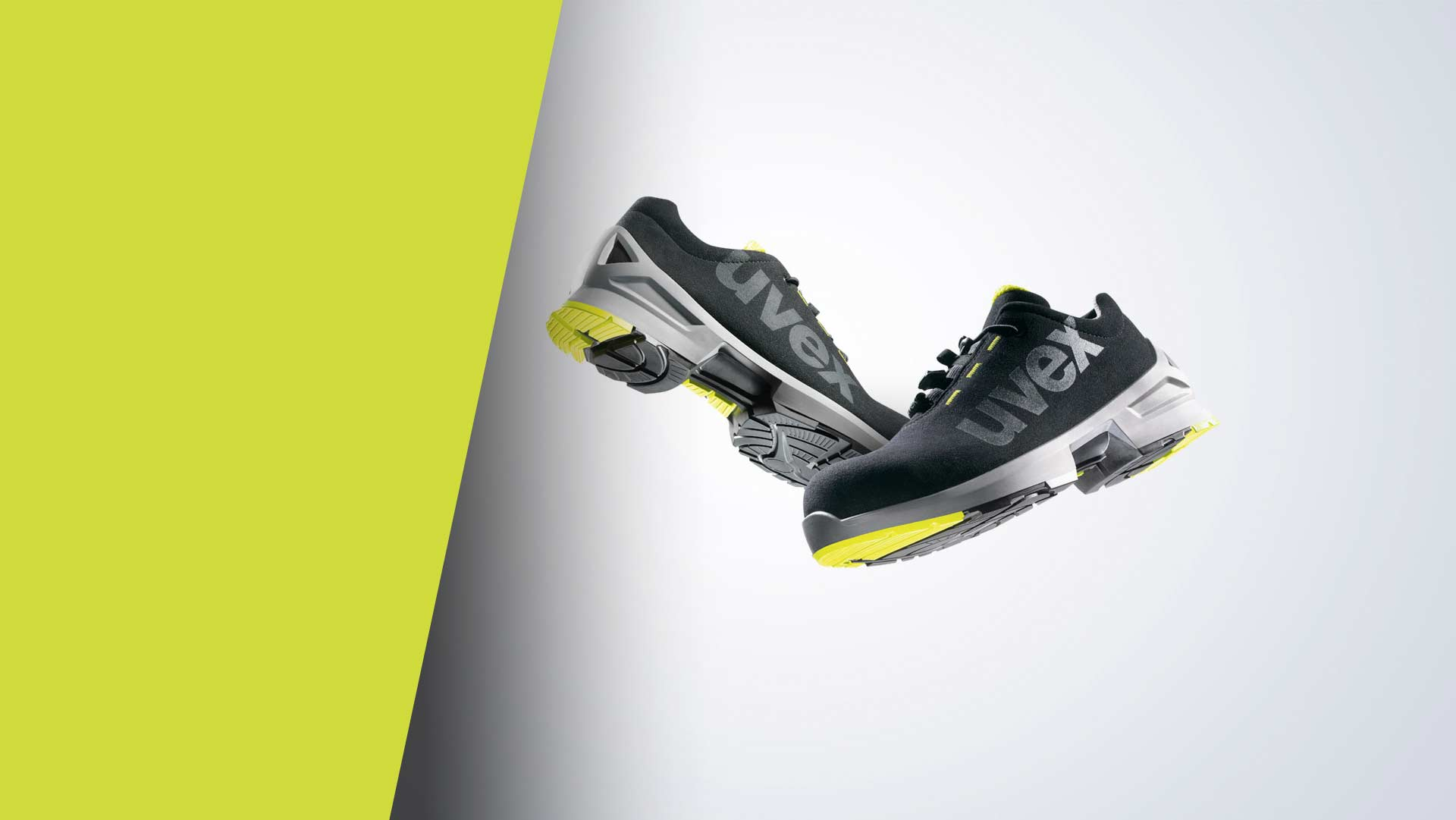 uvex 1 black and lime safety shoes