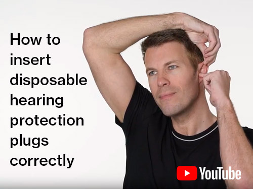 How to insert disposable hearing protection plugs correctly