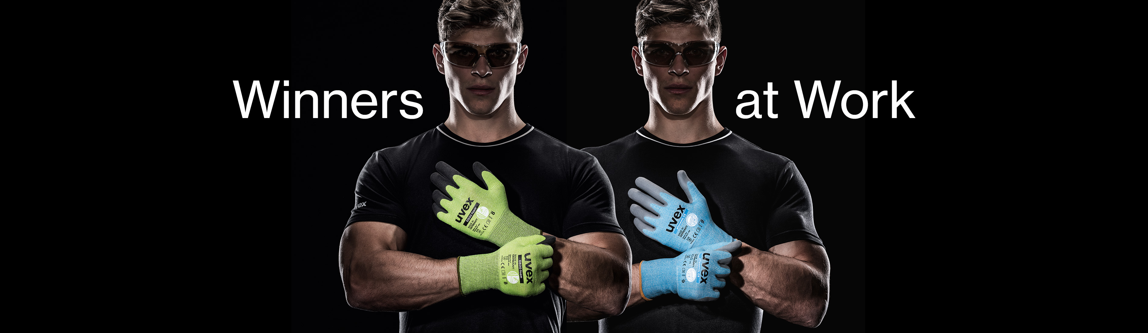 male model wearing uvex cut protection gloves
