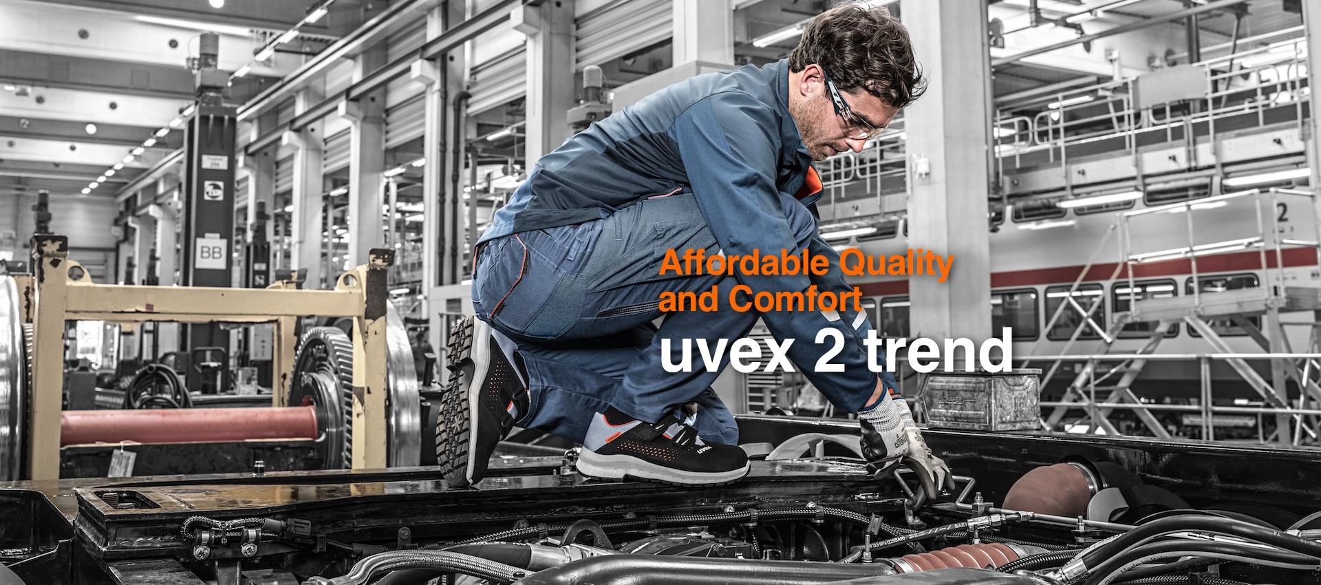 Moderner Fußschutz, bunt und sicher: mit den Arbeitssicherheitsschuhen uvex 2 trend