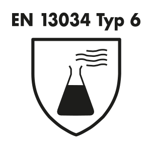 EN 13034 type 6: protective clothing against liquid chemicals
